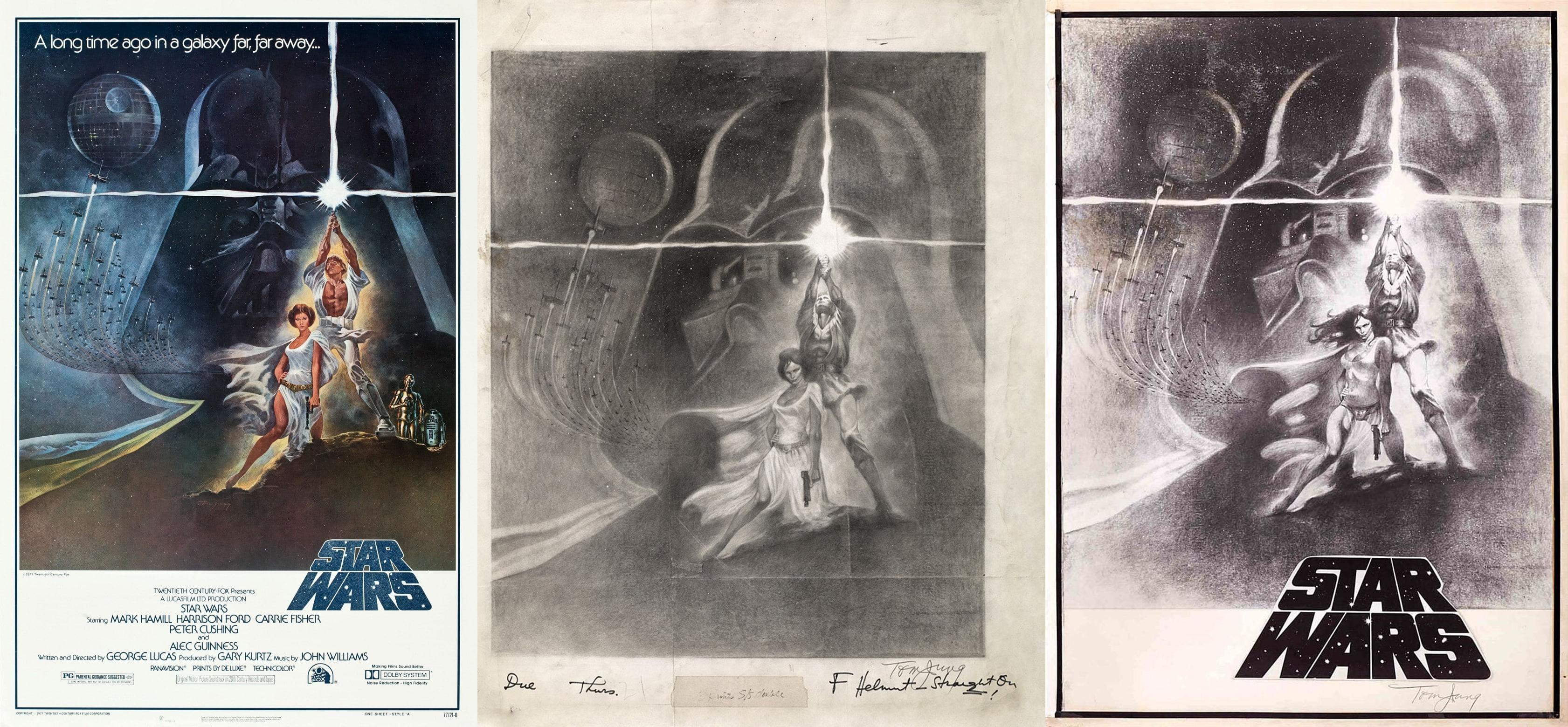 Skice i finalna verzija plakata Epizode IV od Toma Junga
